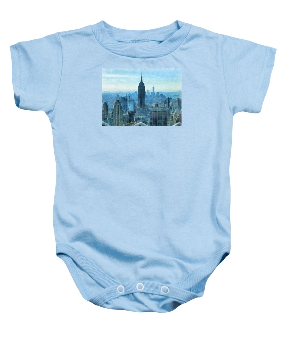 New York City Skyline Summer Day Baby Onesie featuring the mixed media New York City Skyline Summer Day by Dan Sproul