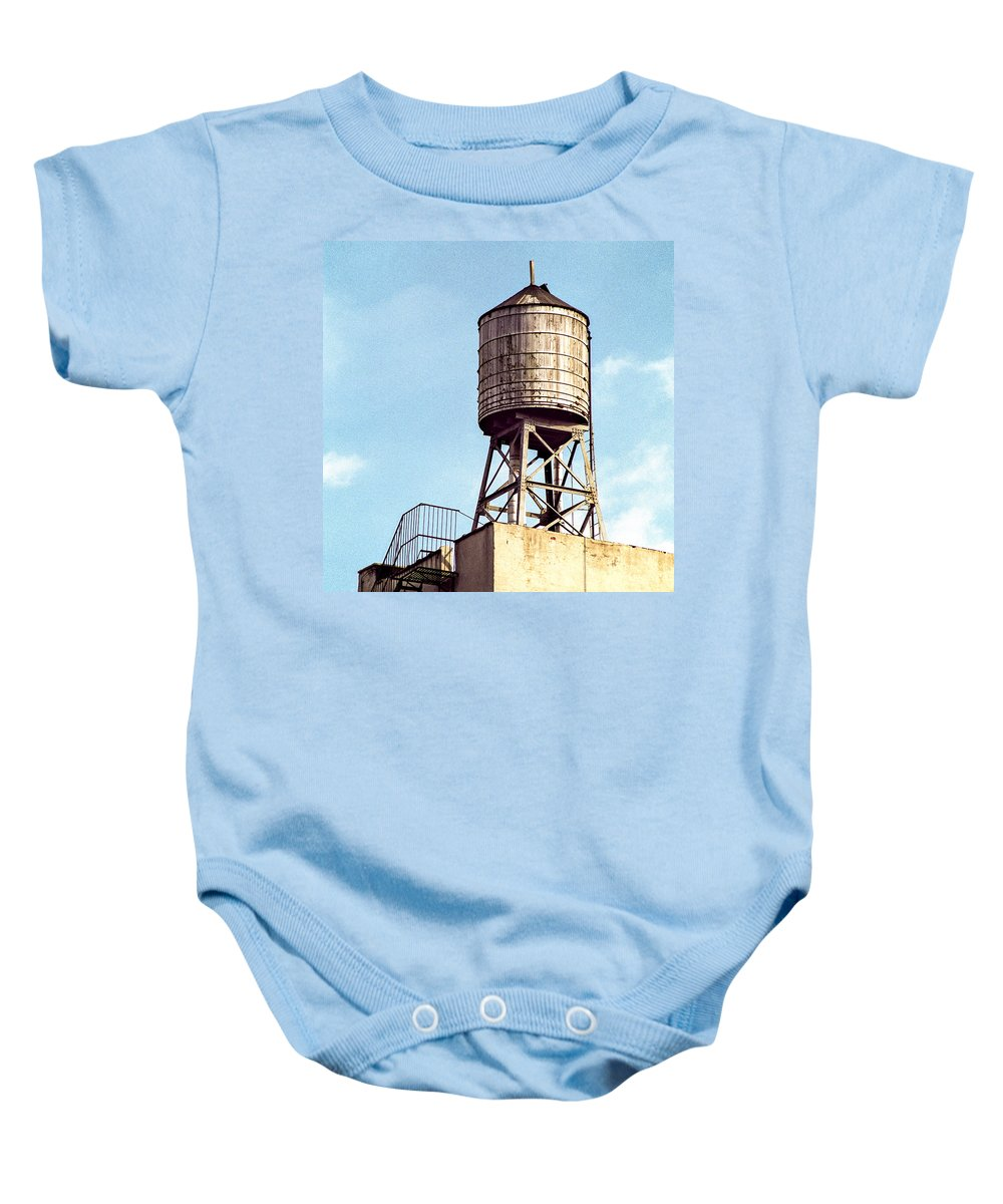 Water Tower Baby Onesie featuring the photograph New York Water Tower 1 - New York Scenes by Gary Heller