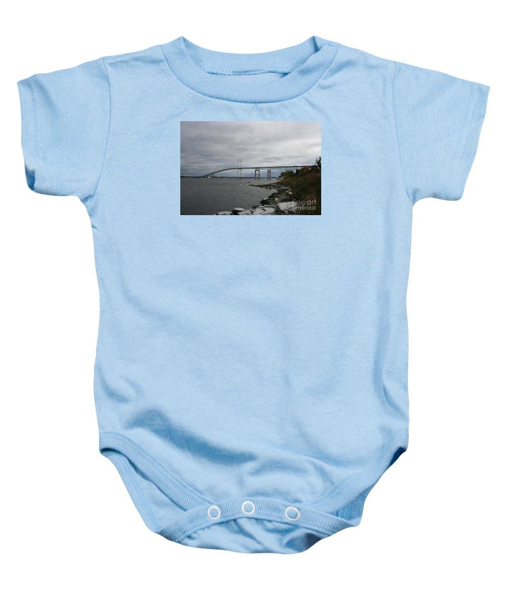 Bridge Baby Onesie featuring the photograph Newport Bridge - Rhode Island by Christiane Schulze Art And Photography