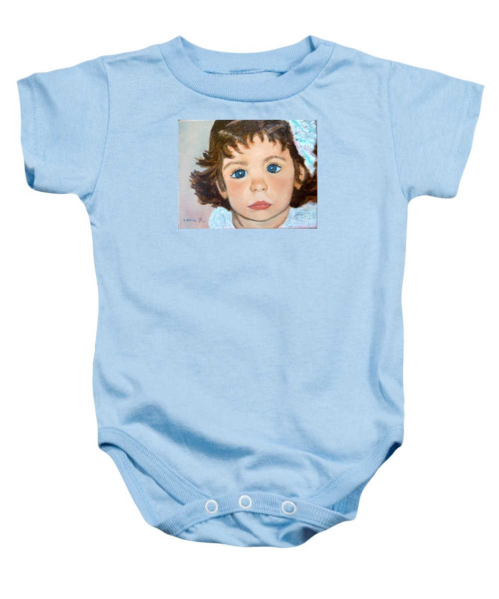 Portrait Baby Onesie featuring the painting Nikki by Laurie Morgan