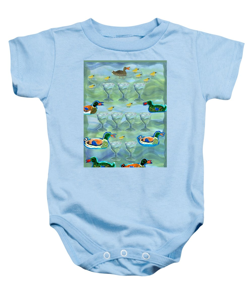 Tarot Baby Onesie featuring the painting Nine Of Cups by Sushila Burgess