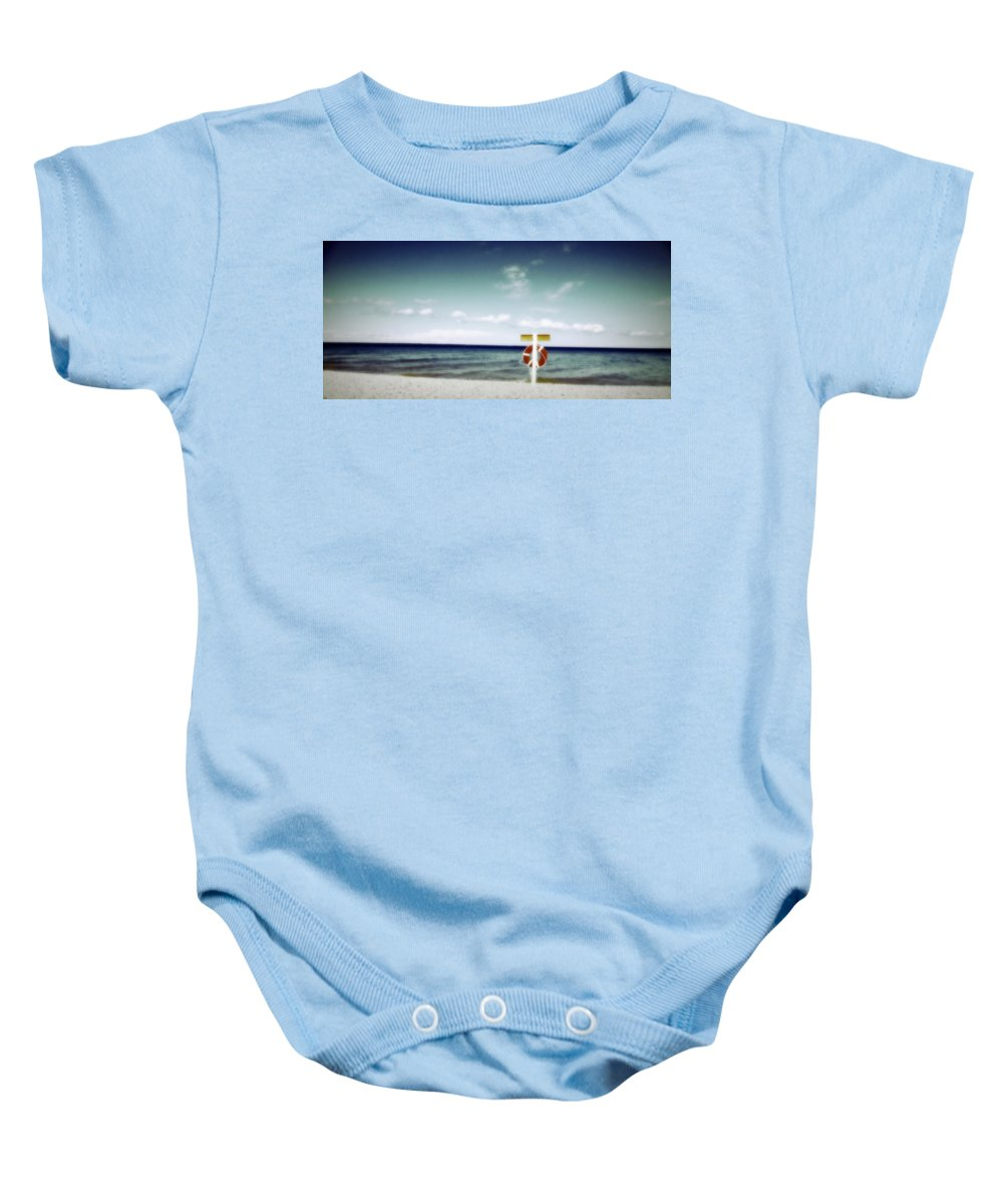 Shabby Chic Baby Onesie featuring the photograph Lake Huron Michigan Waves by Marysue Ryan