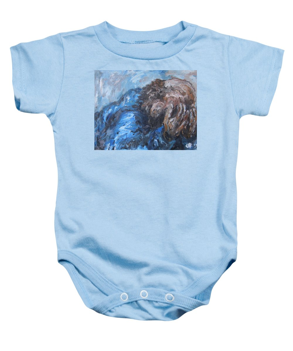 Man Baby Onesie featuring the painting No More by Cheryl Pettigrew
