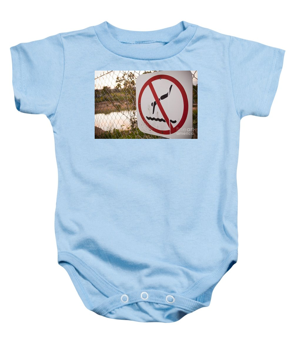 Circle Baby Onesie featuring the photograph No Swimming by Tim Hester