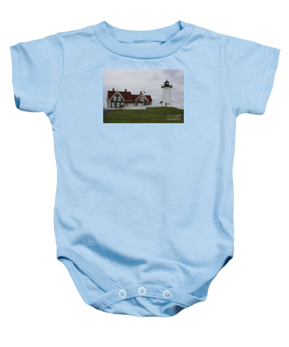 Lighthouse Baby Onesie featuring the photograph Nobska Point Light by Christiane Schulze Art And Photography