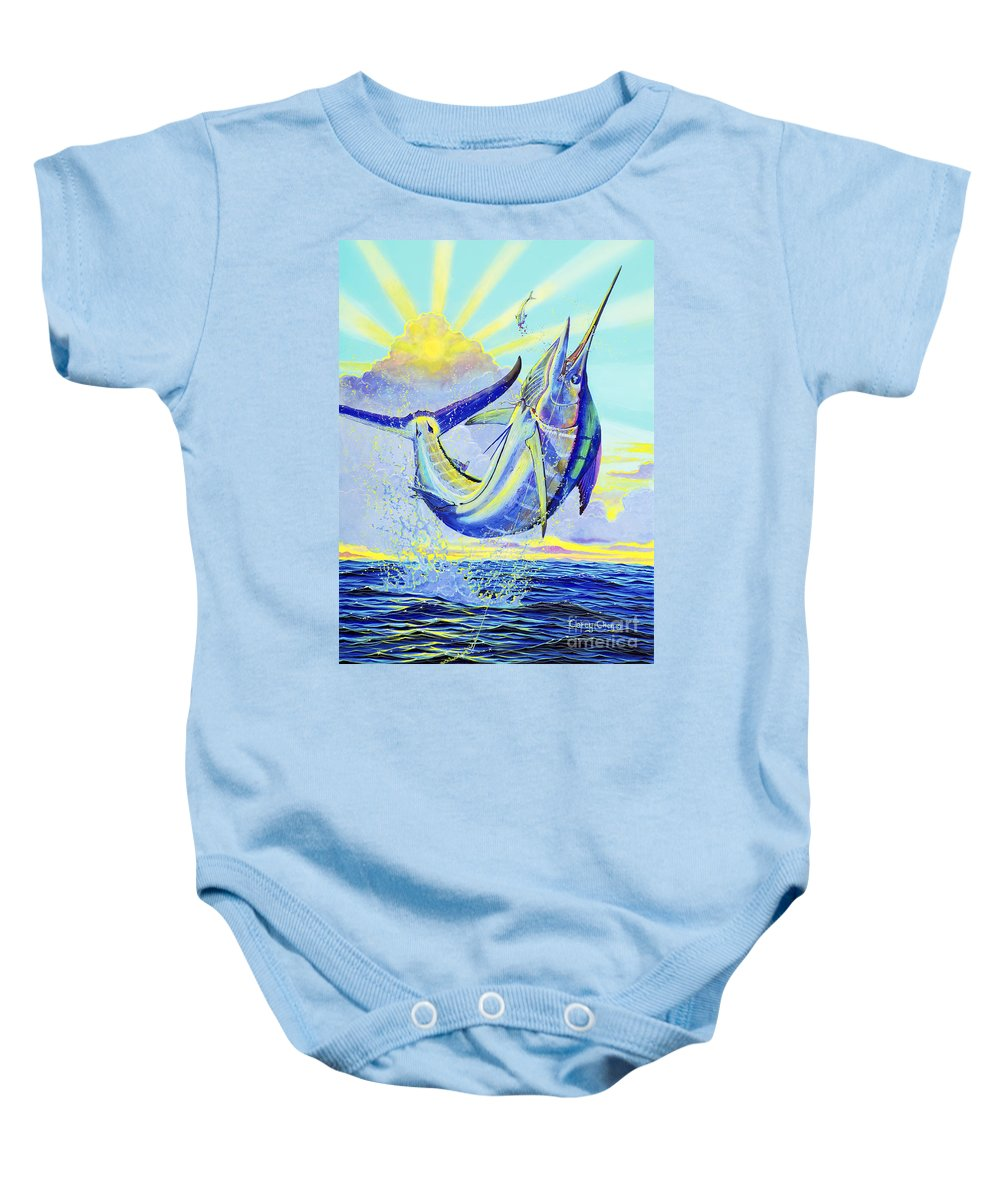 Marlin Baby Onesie featuring the painting North Drop Off00132 by Carey Chen