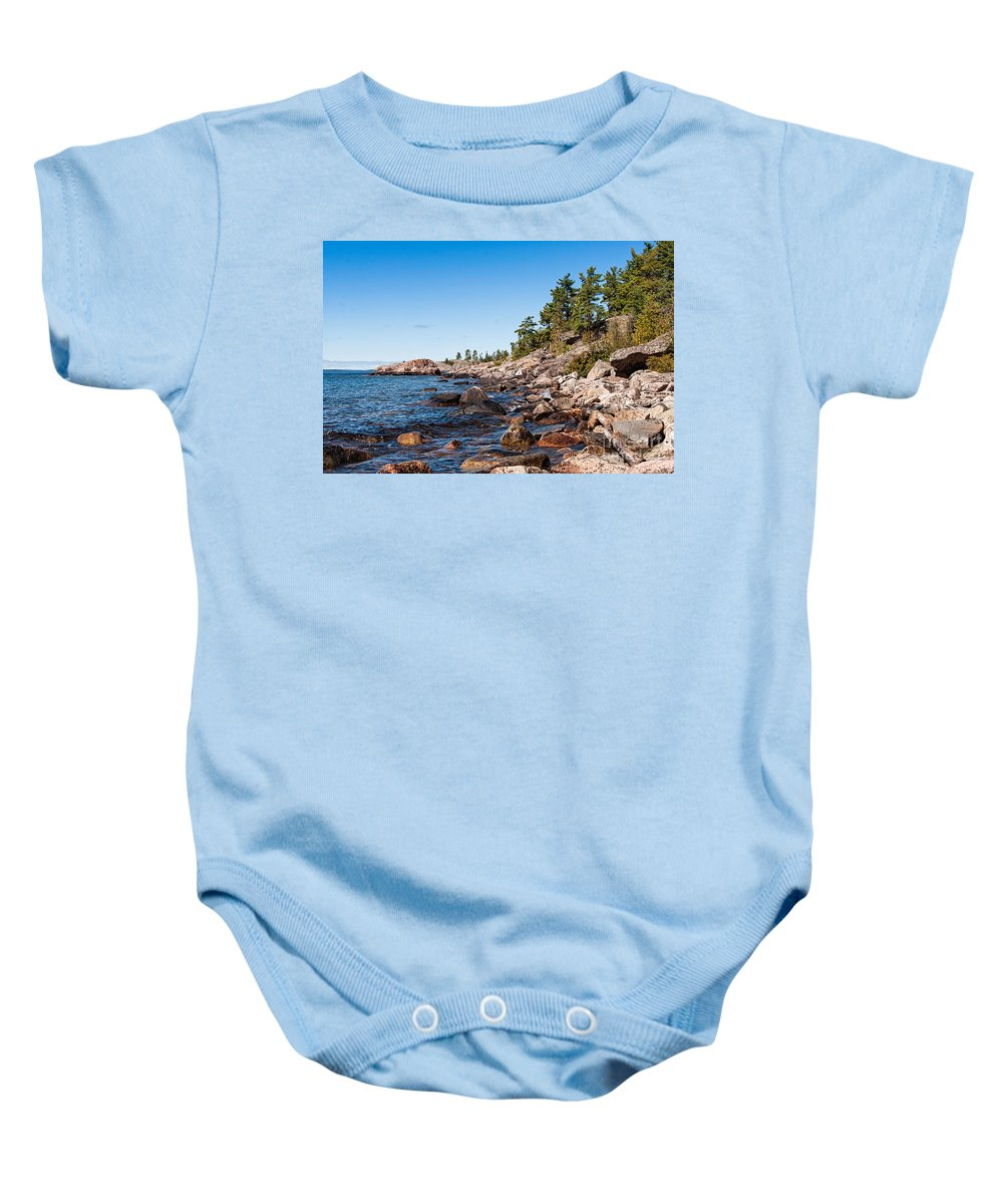 North Baby Onesie featuring the photograph North Shore Of Lake Superior by Les Palenik