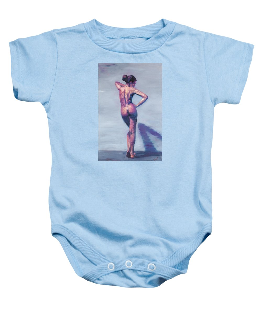 Nude Baby Onesie featuring the painting Nude Woman In Finger Strokes by Shelley Irish
