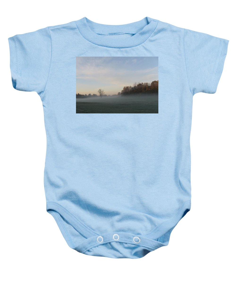Mist Baby Onesie featuring the photograph October Mist by Dan McCafferty