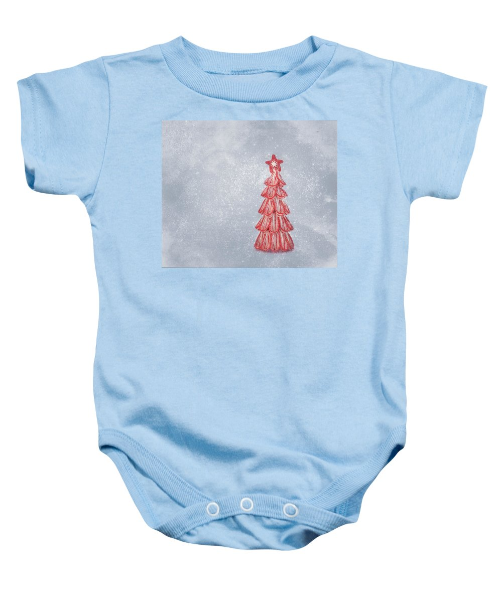 Christmas Card Art Baby Onesie featuring the photograph Oh Christmas Tree by Kim Hojnacki