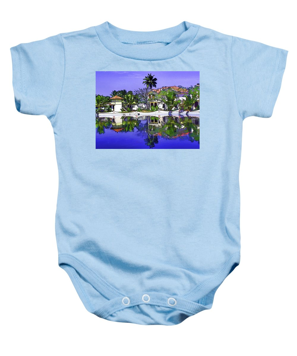 Alleppey Baby Onesie featuring the digital art Oil Painting - Cottages And Lagoon Water by Ashish Agarwal
