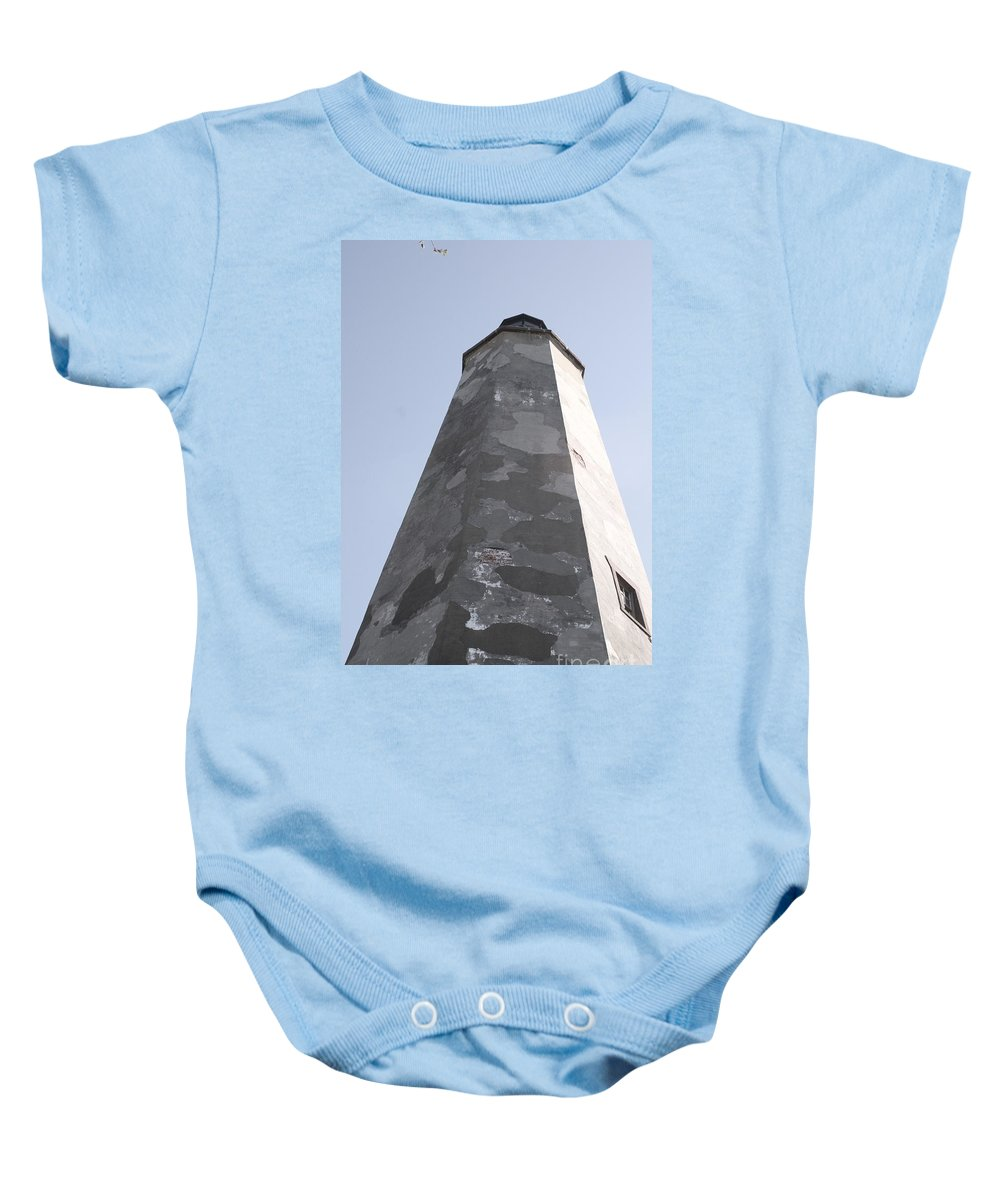 Lighthouse Baby Onesie featuring the photograph Old Baldy Lighthouse Nc by Nadine Rippelmeyer