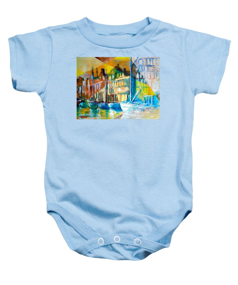 Old World Street Baby Onesie featuring the painting Old Copenhagen Thru Stained Glass by Seth Weaver
