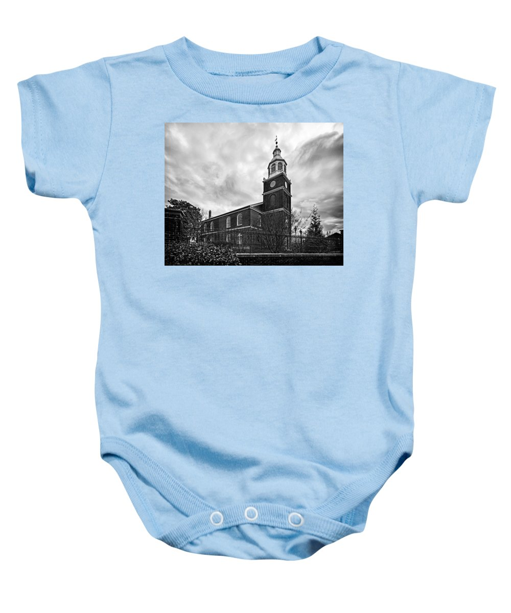 Old Otterbein United Methodist Church Baby Onesie featuring the photograph Old Otterbein Church In Black And White by Bill Swartwout Fine Art Photography