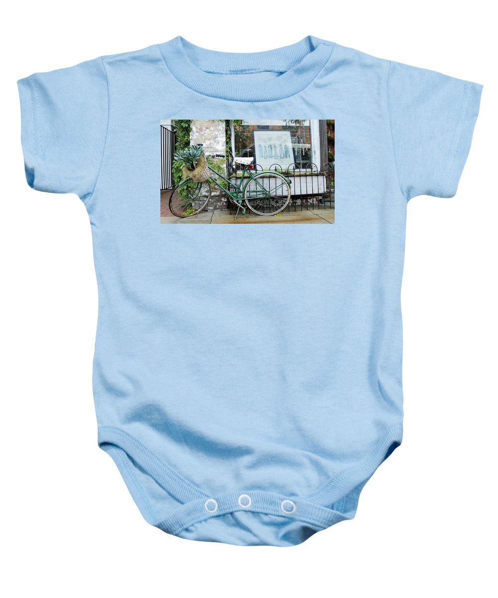 Bike Baby Onesie featuring the photograph Old Town Bike Stop by Danielle Allard
