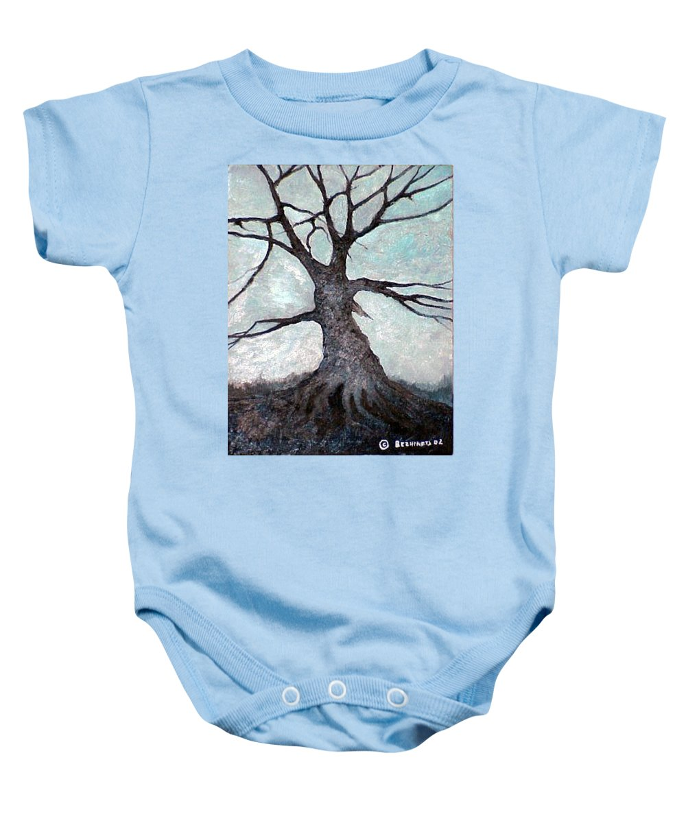 Landscape Baby Onesie featuring the painting Old Tree by Sergey Bezhinets