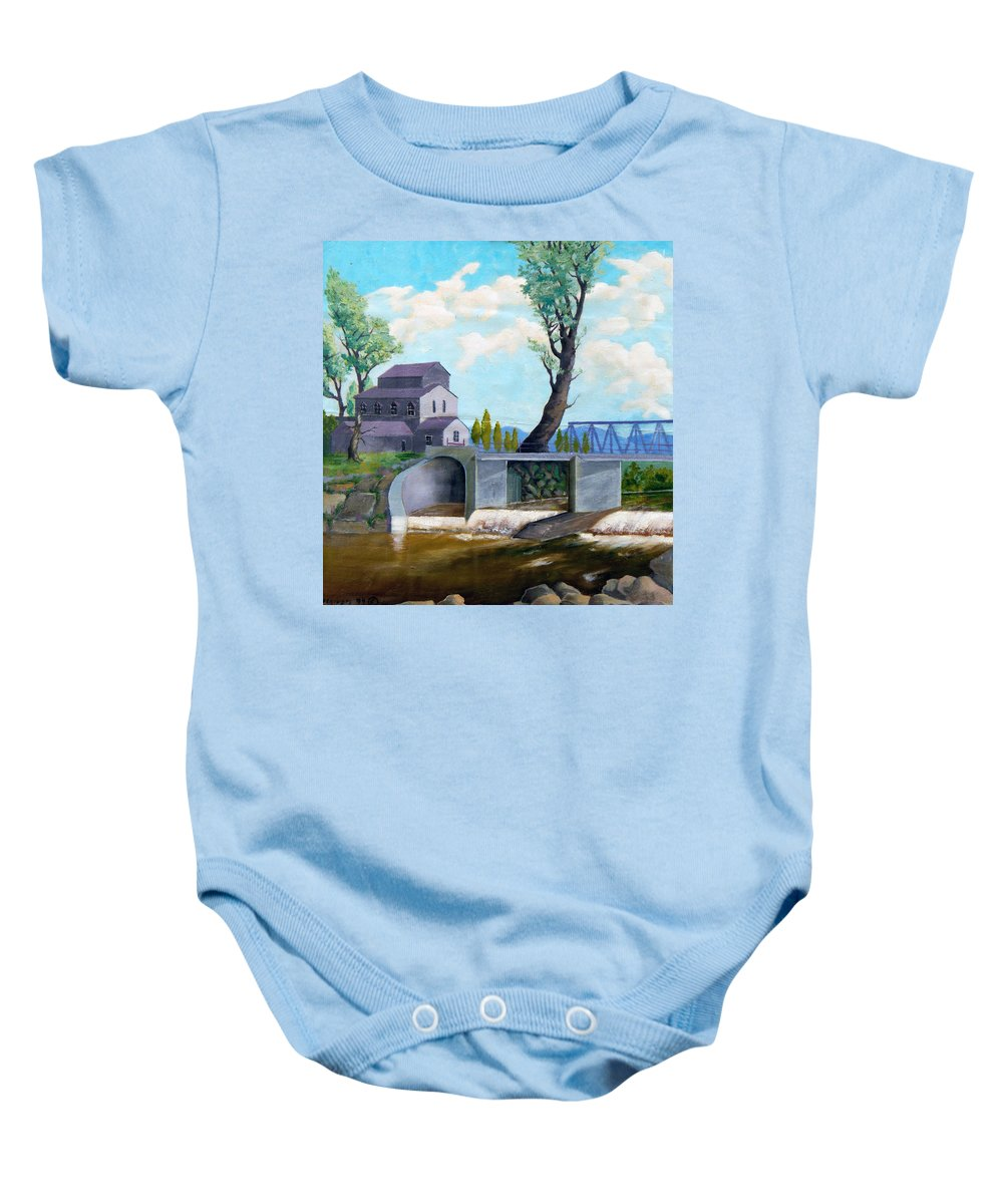 Old Baby Onesie featuring the painting Old Water Mill by Sergey Bezhinets