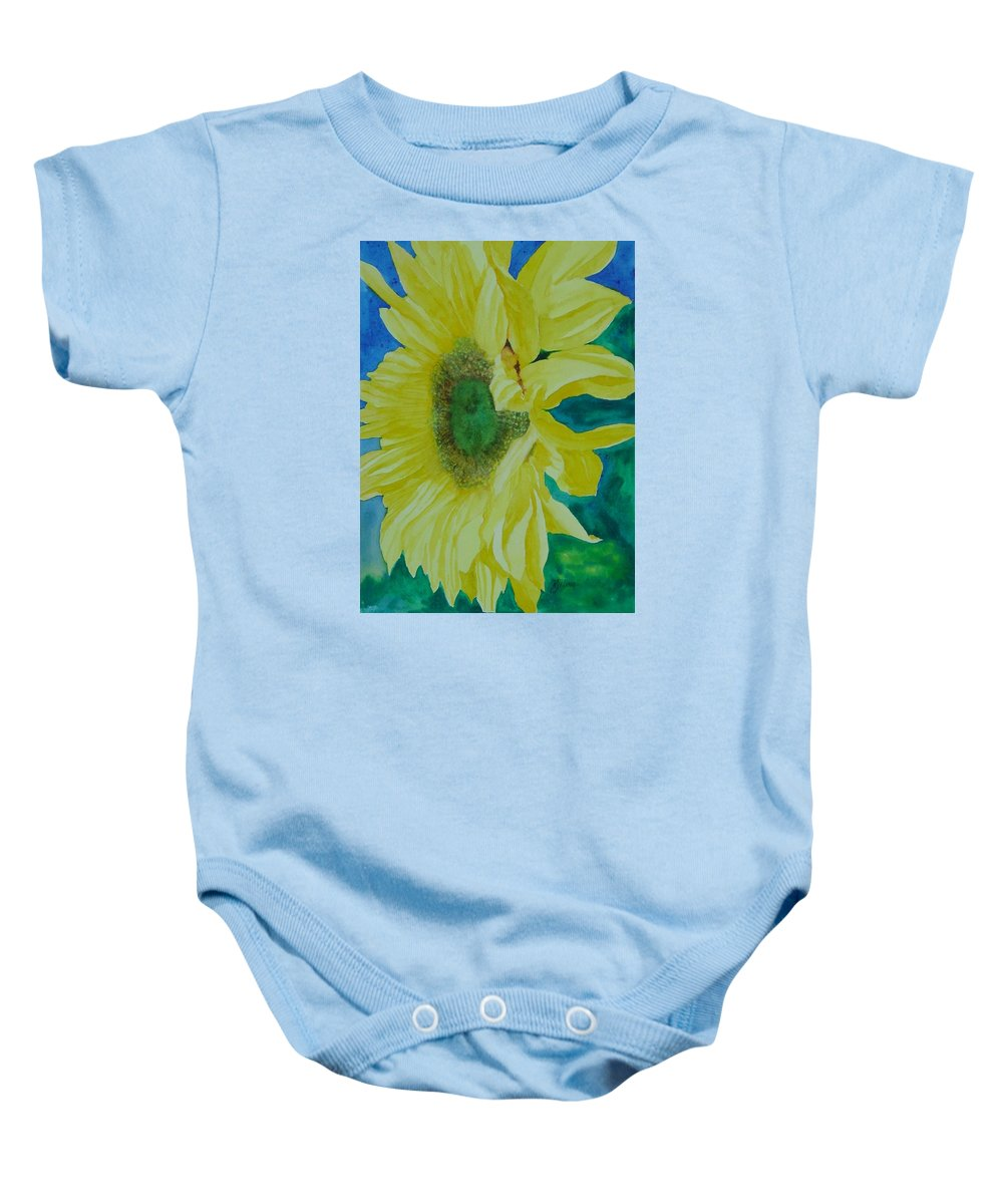 Original Sunflower Painting Baby Onesie featuring the painting One Bright Sunflower Colorful Original Art Floral Flowers Artist K. Joann Russell Decor Art by K Joann Russell