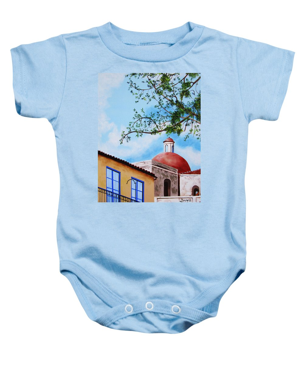 Cuba Baby Onesie featuring the painting One Fine Day In Cuba by Dominica Alcantara