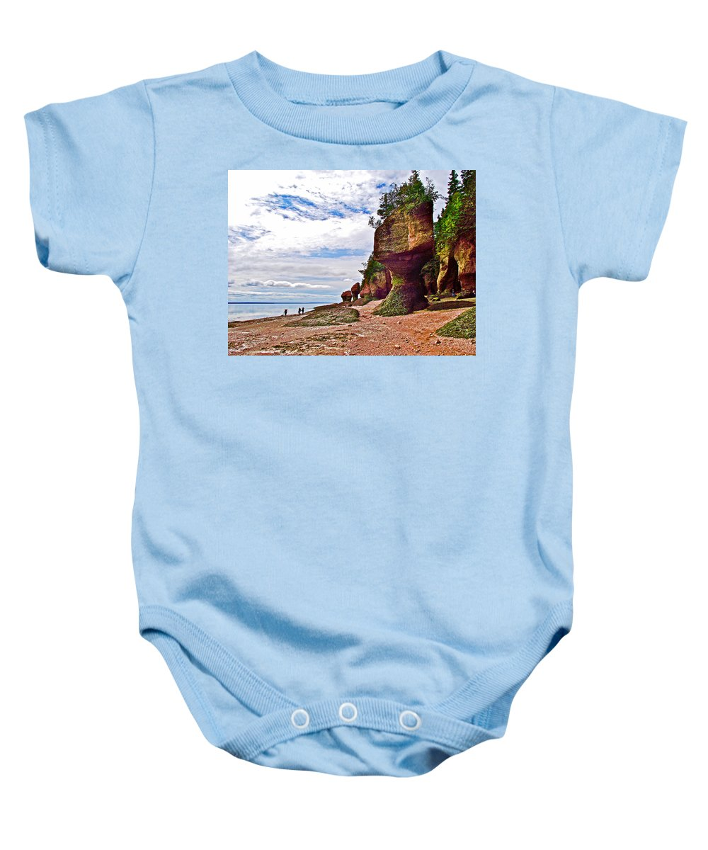 One Side Of Flowerpots At Hopewell Rocks Baby Onesie featuring the photograph One Side Of Flowerpots At Hopewell Rocks-new Brunswick by Ruth Hager