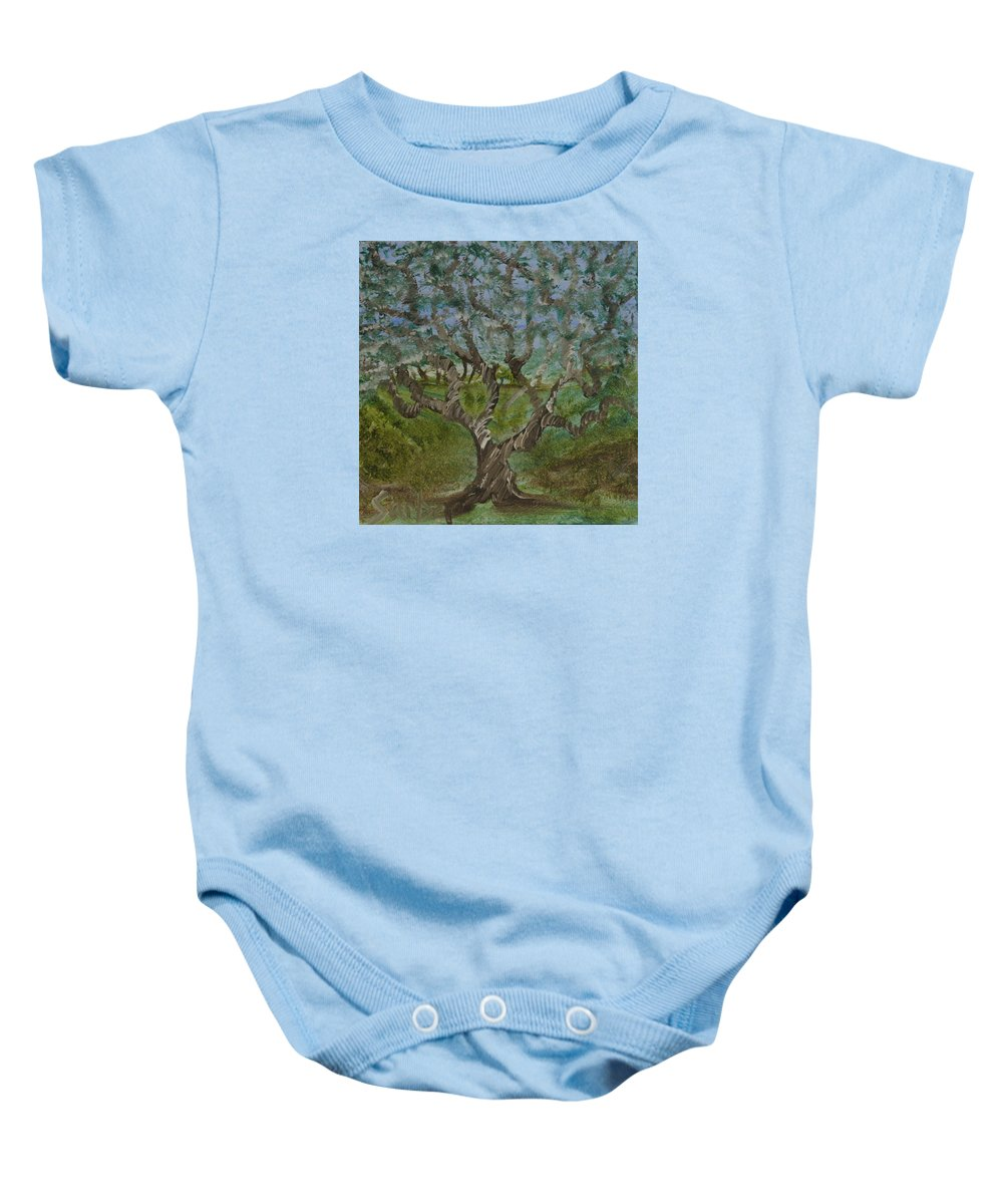 One Tree Baby Onesie featuring the painting One Tree - 2 by Suzanne Surber