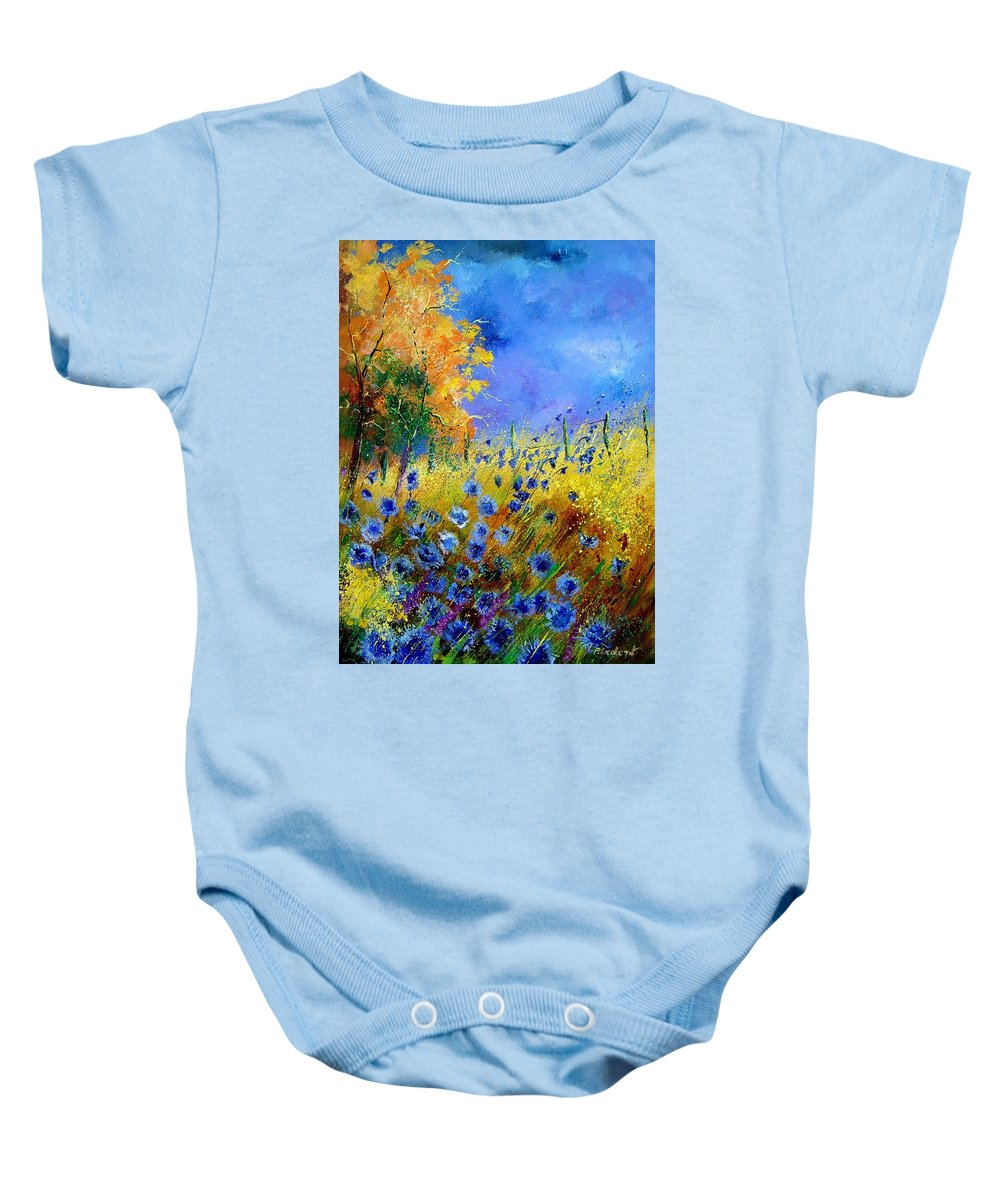 Poppies Baby Onesie featuring the painting Orange Tree And Blue Cornflowers by Pol Ledent