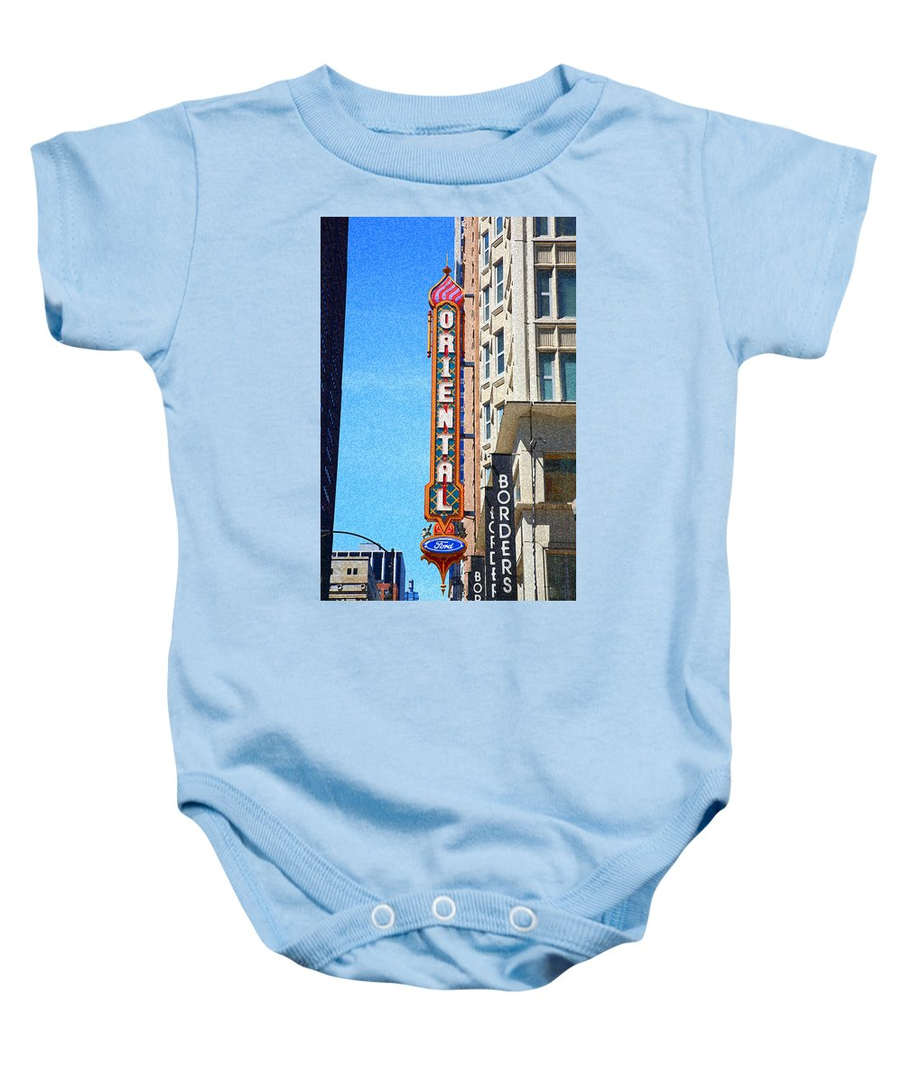 Architecture Baby Onesie featuring the photograph Oriental Theater With Sponge Painting Effect by Frank Romeo