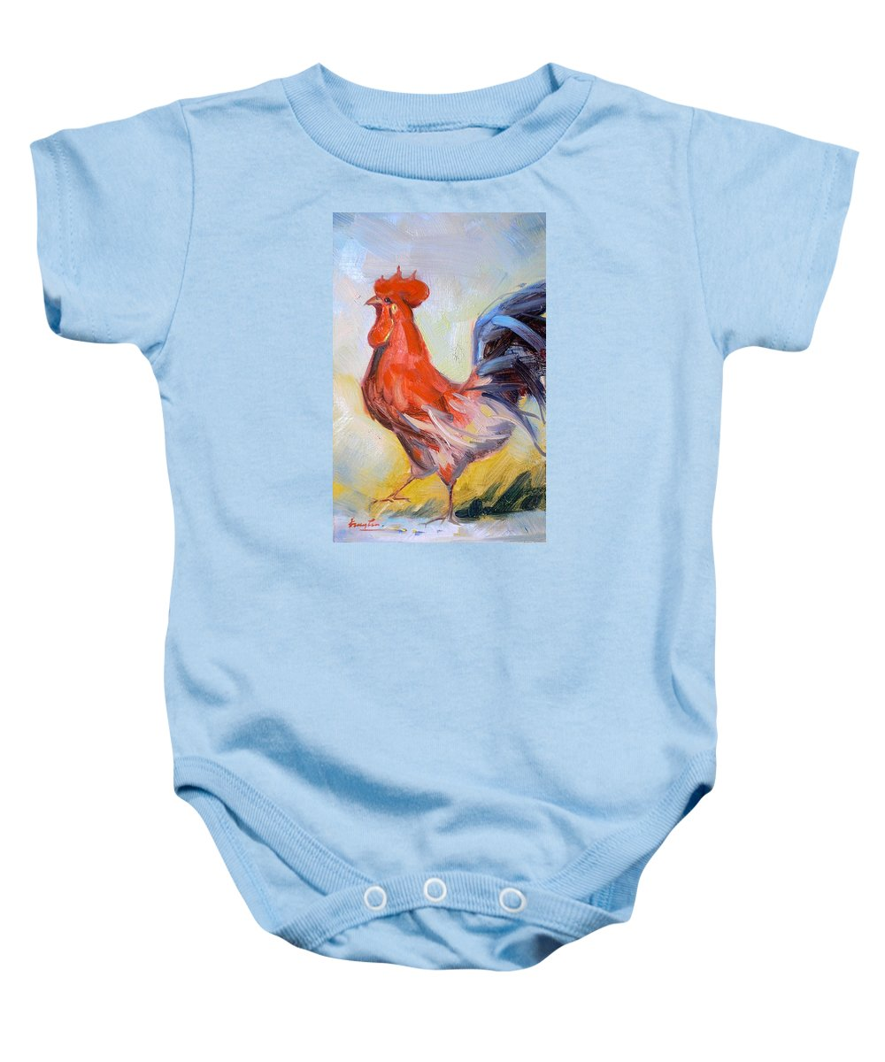 Oil Painting Baby Onesie featuring the painting Original Animal Oil Painting - Big Cock#16-2-5-29 by Hongtao   Huang