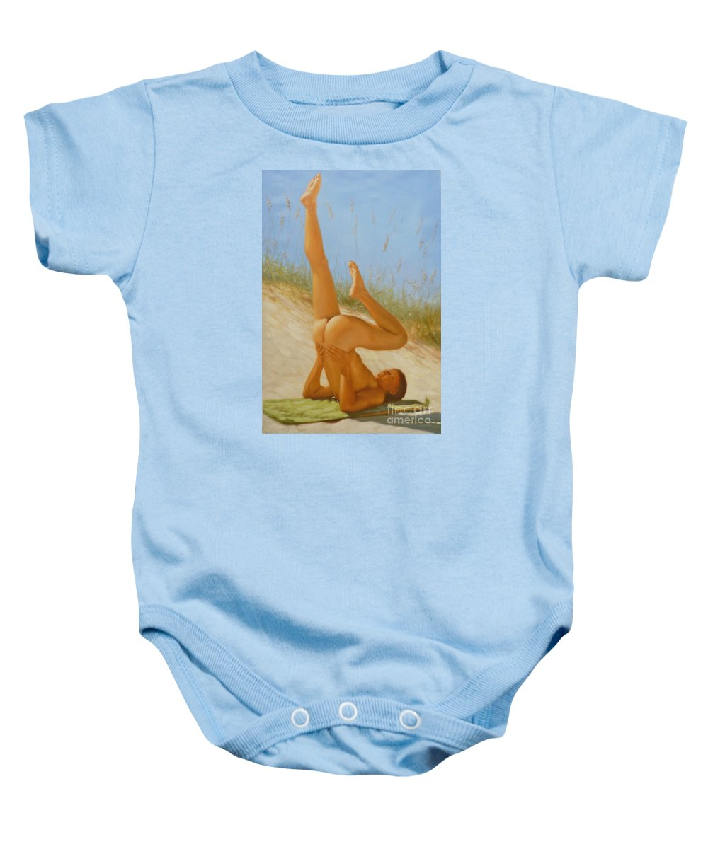 Art Baby Onesie featuring the painting Original Oil Painting Man Art Male Nude On Sand On Canvas#16-2-5-05 by Hongtao   Huang