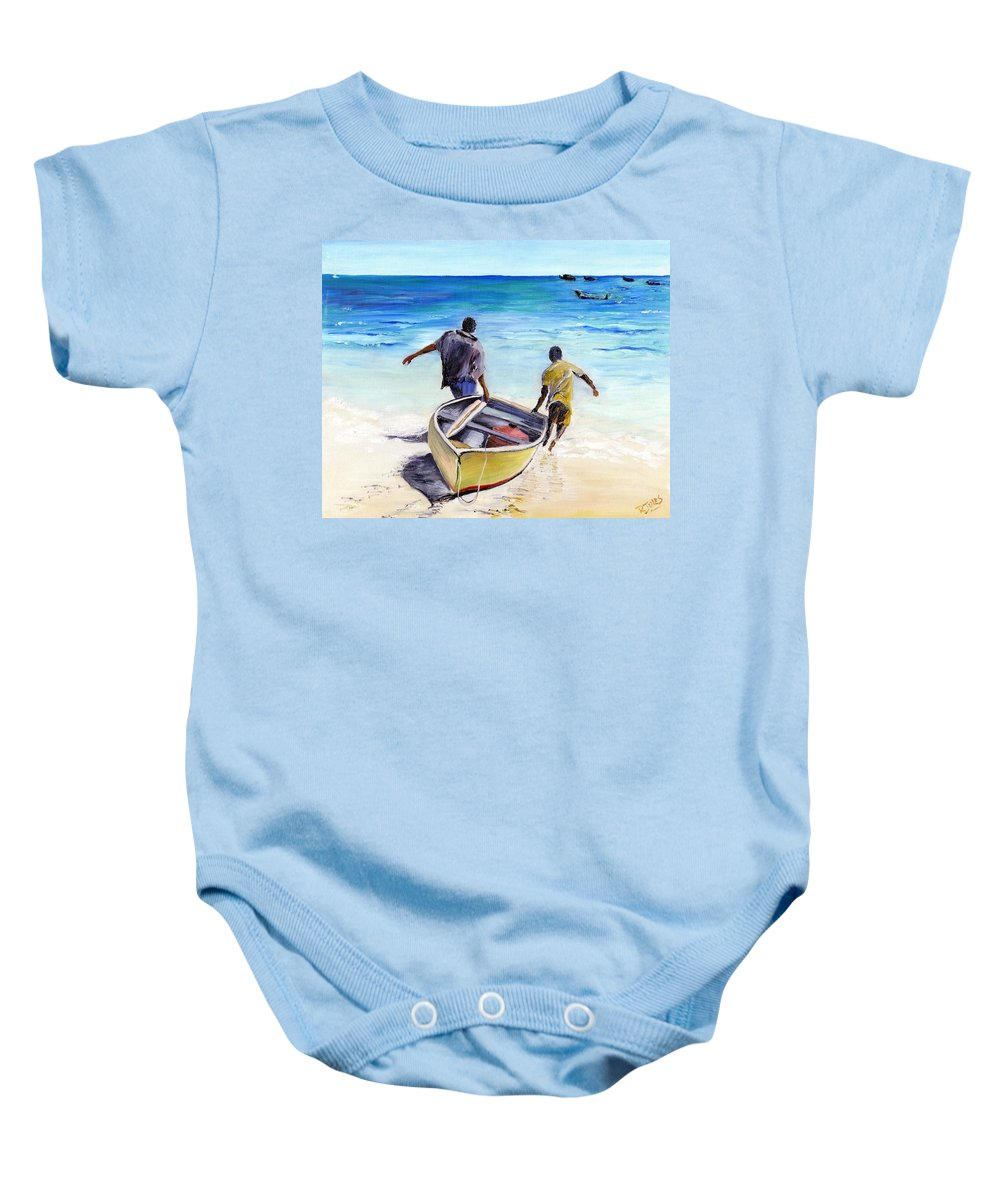 Barbados Baby Onesie featuring the painting Out To Sea by Richard Jules