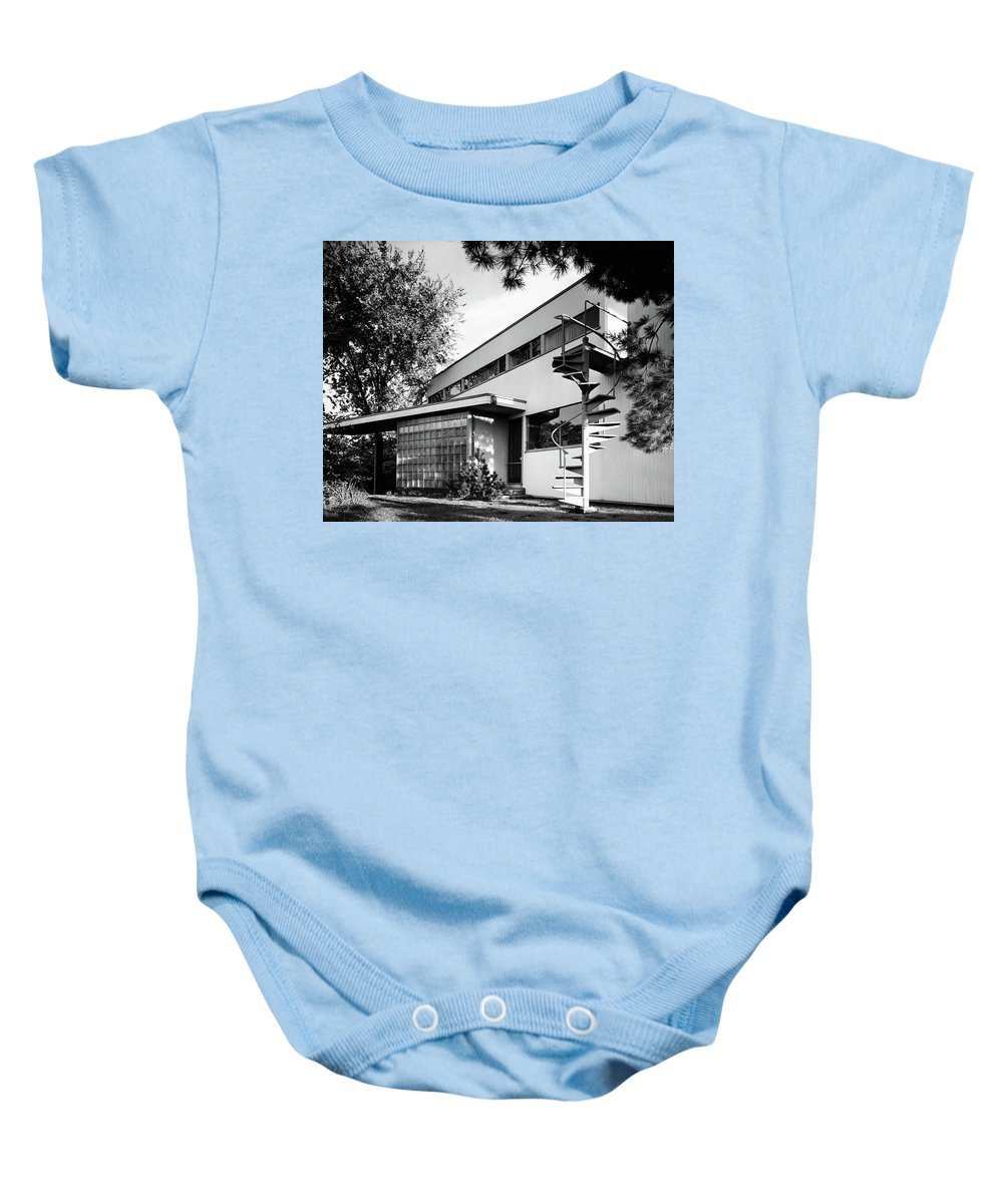 Home Baby Onesie featuring the photograph Outdoor Spiral Staircase To The Roof-deck Of Mr by Robert M. Damora