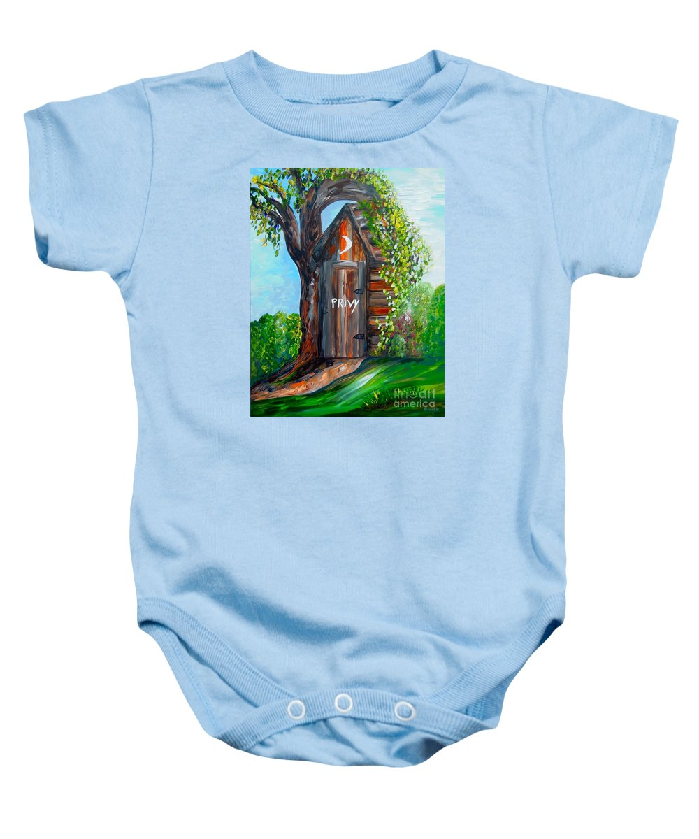 Out House Baby Onesie featuring the painting Outhouse - Privy - The Old Out House by Eloise Schneider Mote