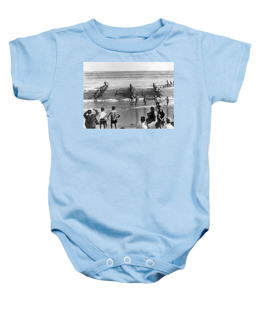 1930 Baby Onesie featuring the photograph Outrigger Canoe Championship by Underwood Archives