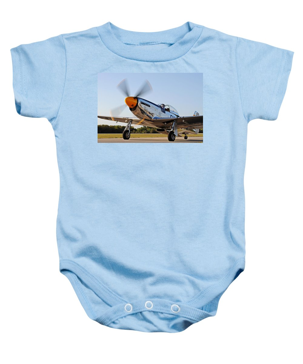 P51 Baby Onesie featuring the photograph P51 The Brat by David Hart