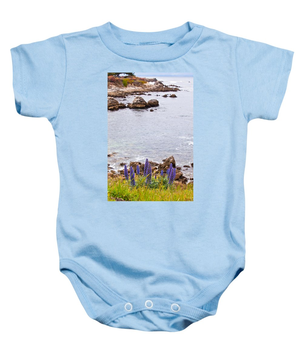 Shoreline Baby Onesie featuring the photograph Pacific Grove Coastline by Melinda Ledsome