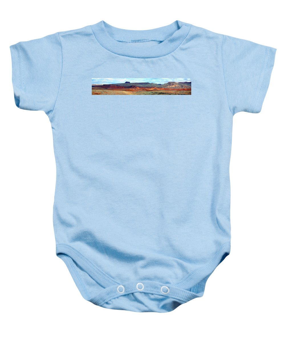 United States Baby Onesie featuring the photograph Painted Mountains by Richard Gehlbach