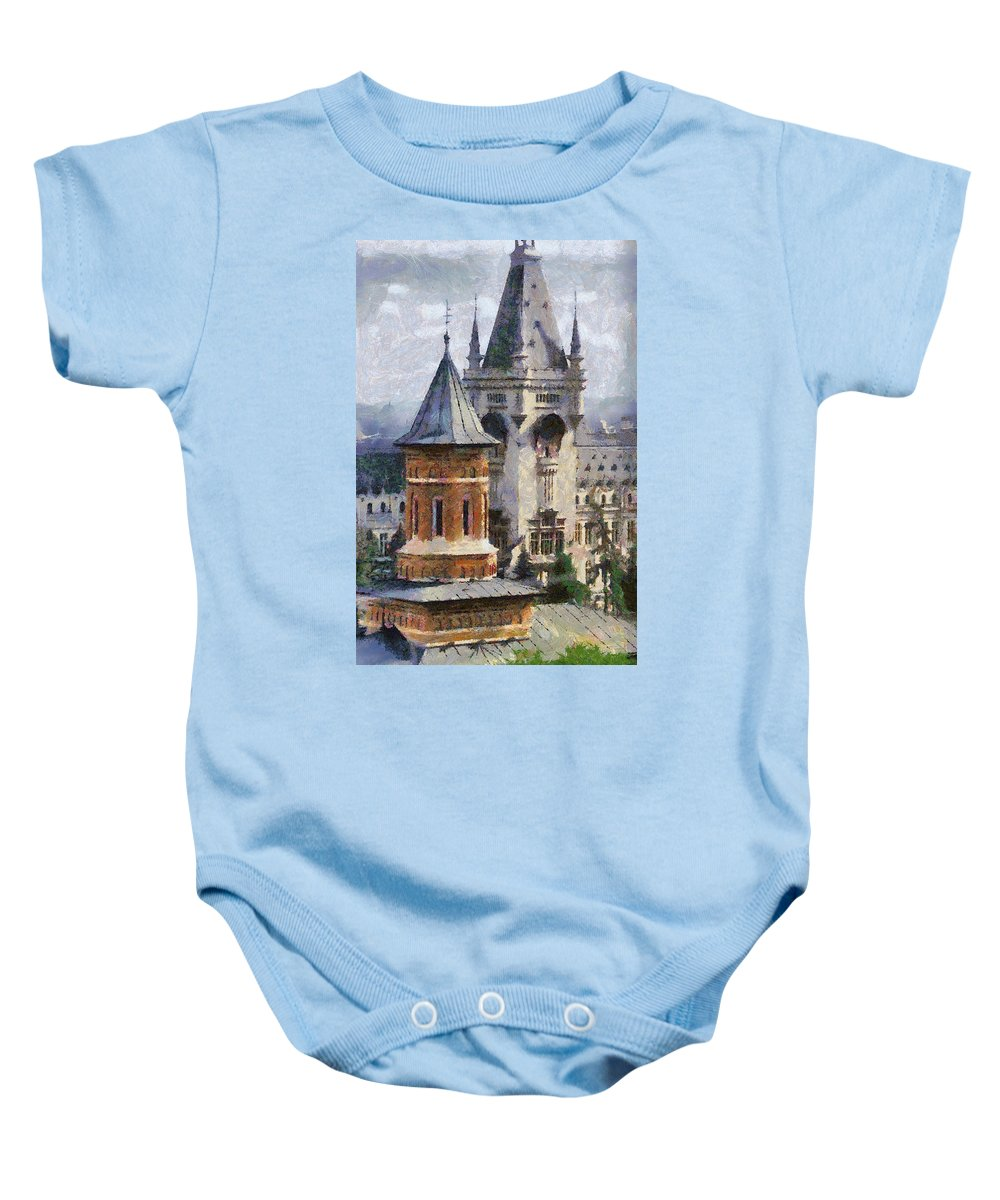 Chapel Baby Onesie featuring the painting Palace Of Culture by Jeffrey Kolker