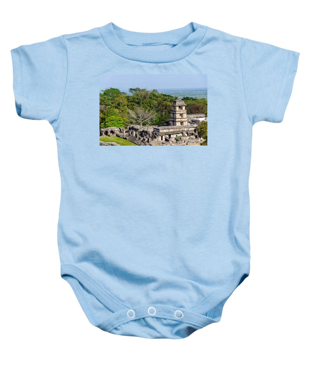 Palenque Baby Onesie featuring the photograph Palenque Palace by Jess Kraft