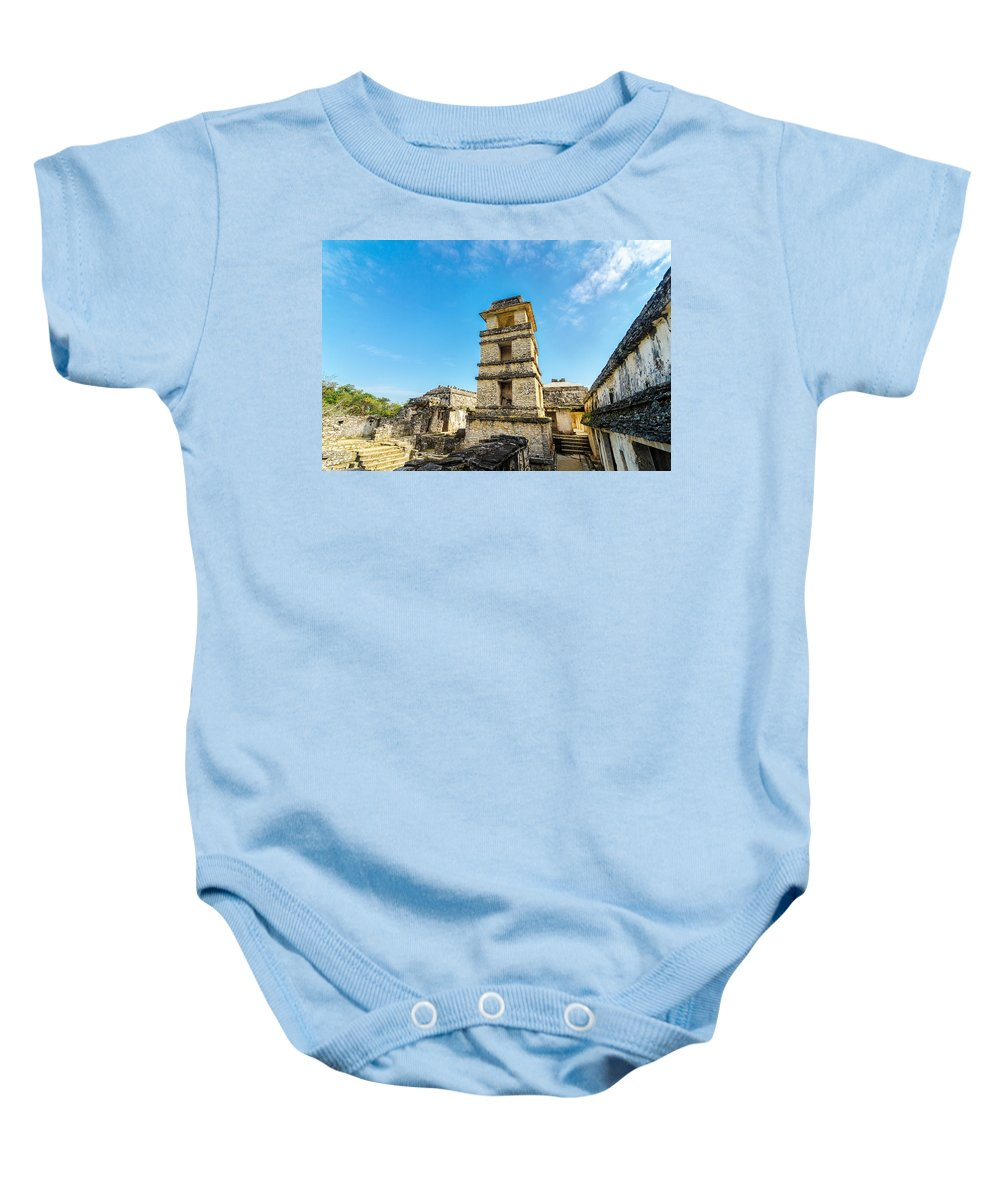 Palenque Baby Onesie featuring the photograph Palenque Palace Tower by Jess Kraft