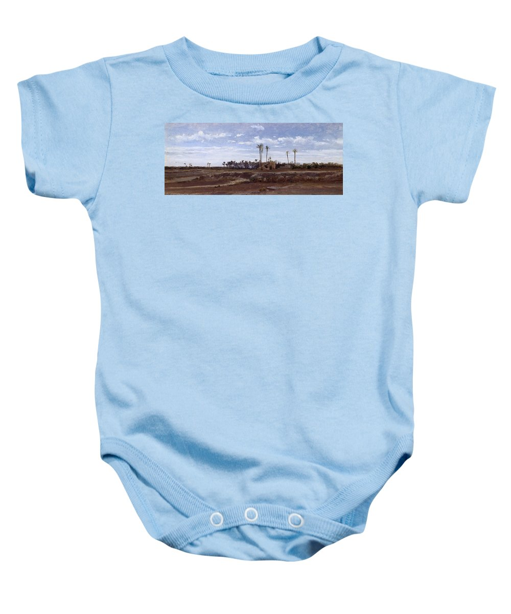 Carlos De Haes Baby Onesie featuring the painting Palm Forest In Elche by Carlos de Haes