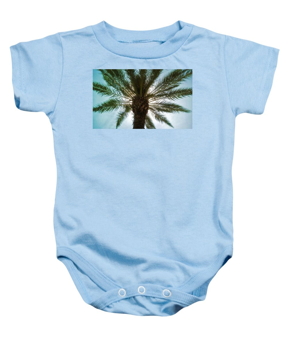 Palm Baby Onesie featuring the photograph Palm Light by Deborah Lacoste