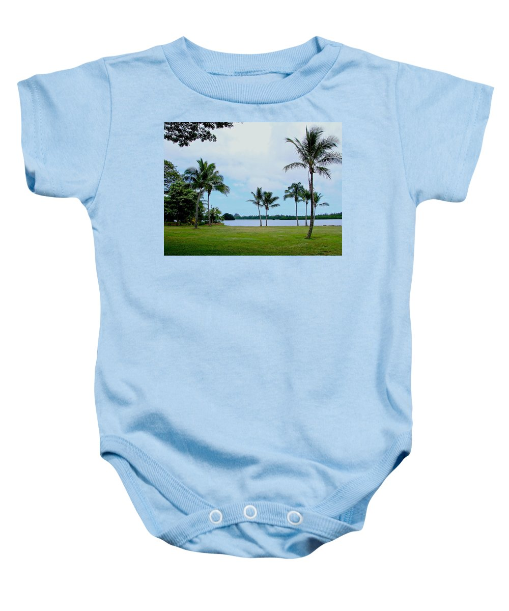 Tropical Palm Trees Baby Onesie featuring the photograph Palm Trees In Oahu by Athena Mckinzie
