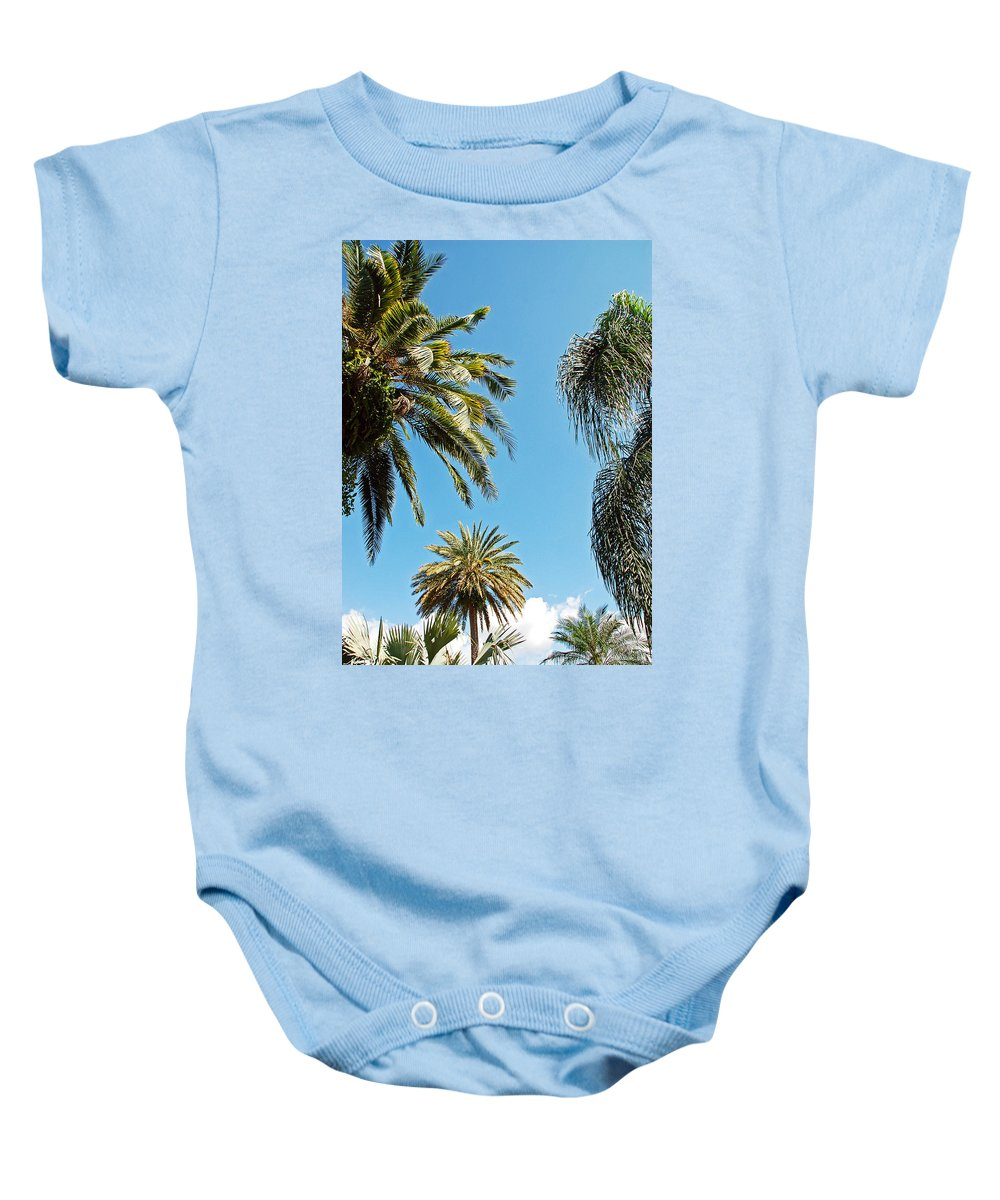 Palm Baby Onesie featuring the photograph Palms In The Sky by Aimee L Maher ALM GALLERY
