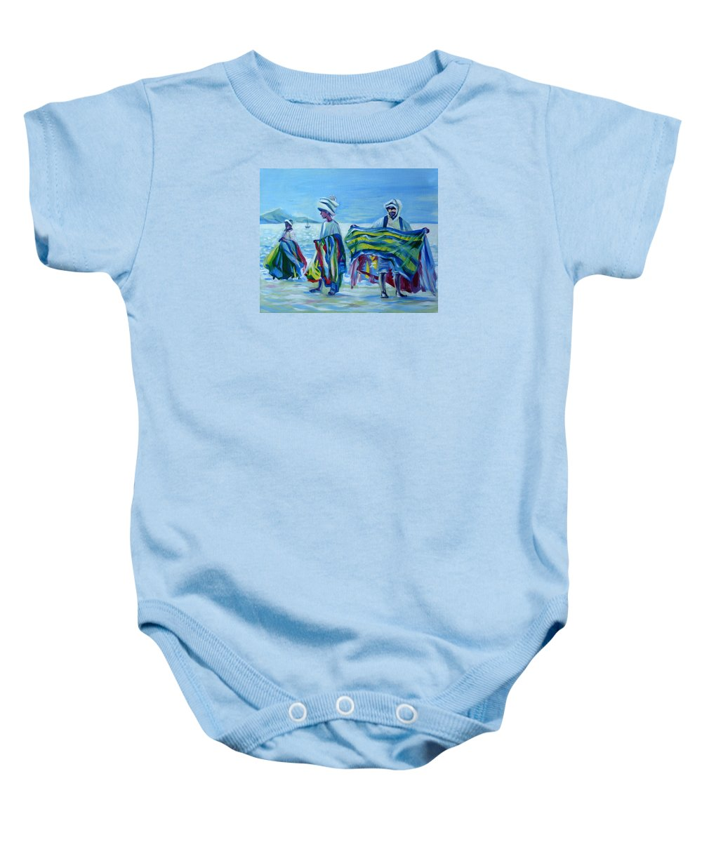 Tropical Baby Onesie featuring the painting Panama.beach Market by Anna Duyunova
