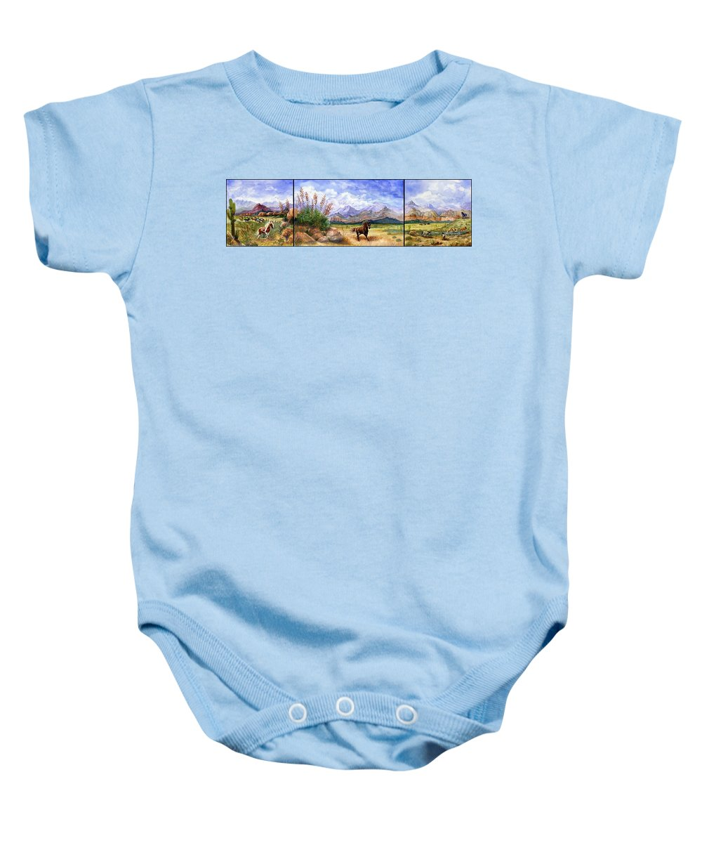 Mustang Baby Onesie featuring the painting Panorama Triptych Don't Fence Me In by Marilyn Smith