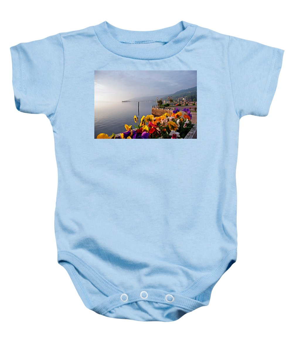 Italy Baby Onesie featuring the photograph Pansies On Lake Maggiore by Peter Tellone