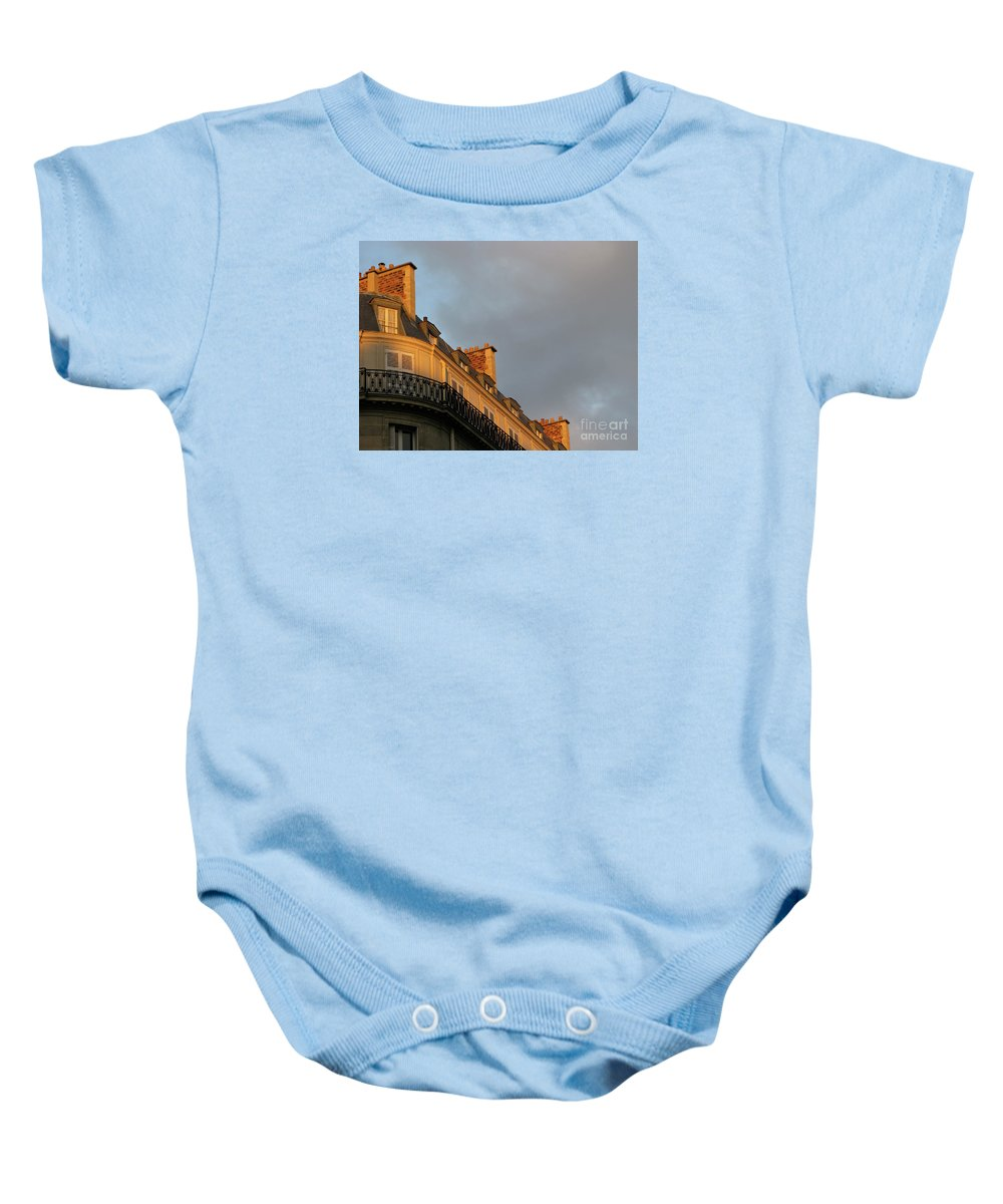 Paris Baby Onesie featuring the photograph Paris At Sunset by Ann Horn