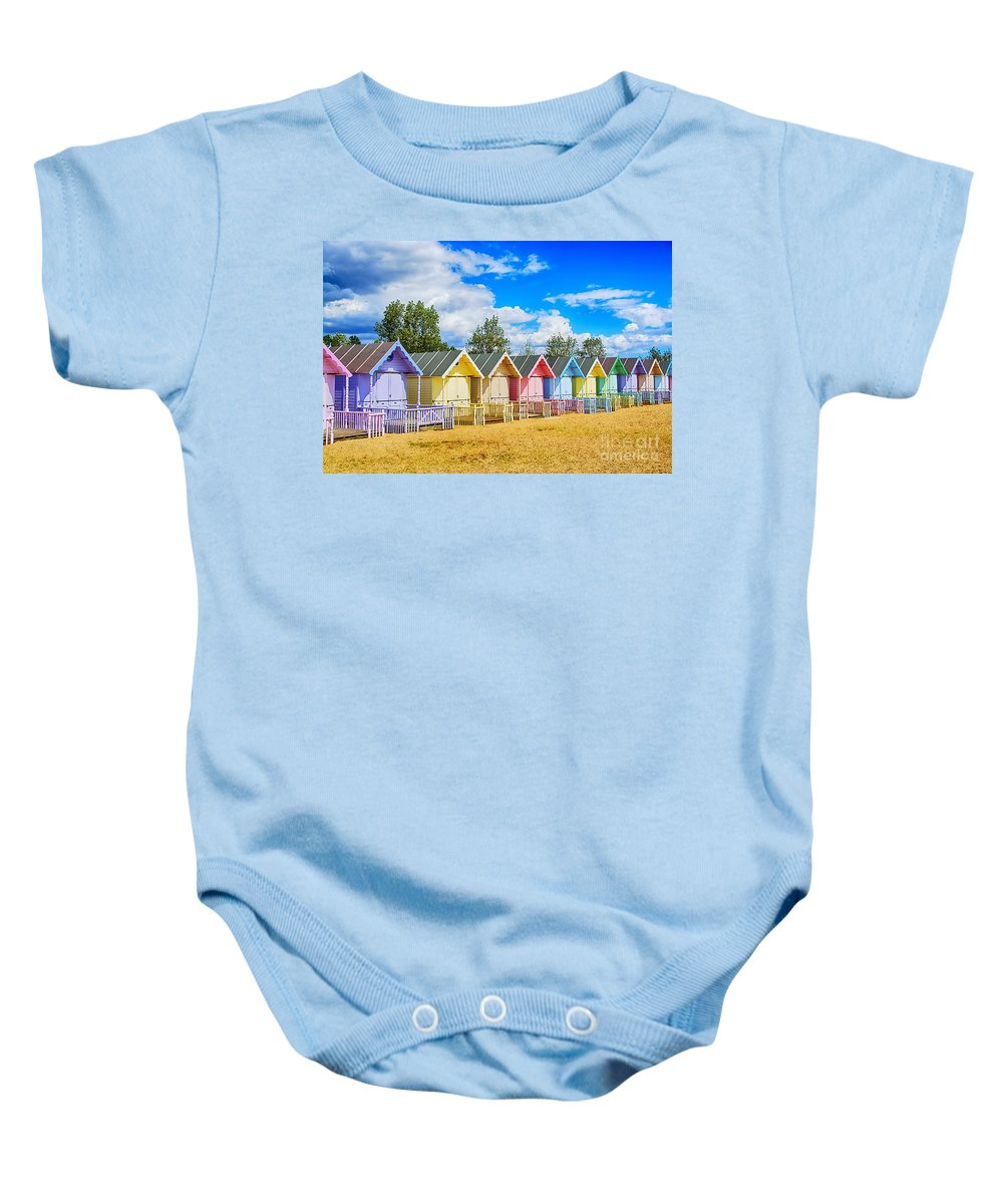 Beach Huts Canvas Baby Onesie featuring the photograph Pastel Beach Huts by Chris Thaxter