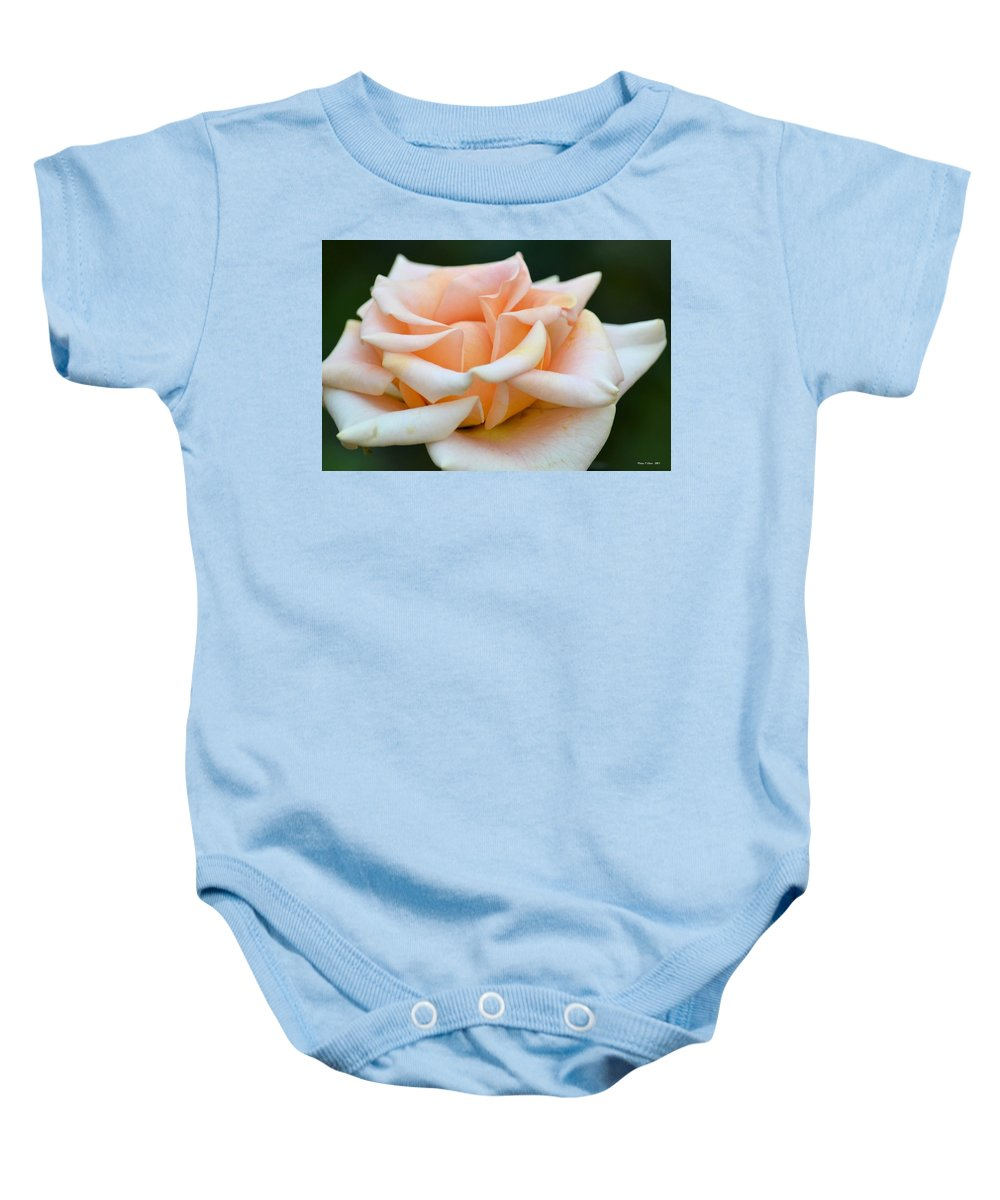 Pastel Peach Rose Baby Onesie featuring the photograph Pastel Peach Rose by Maria Urso