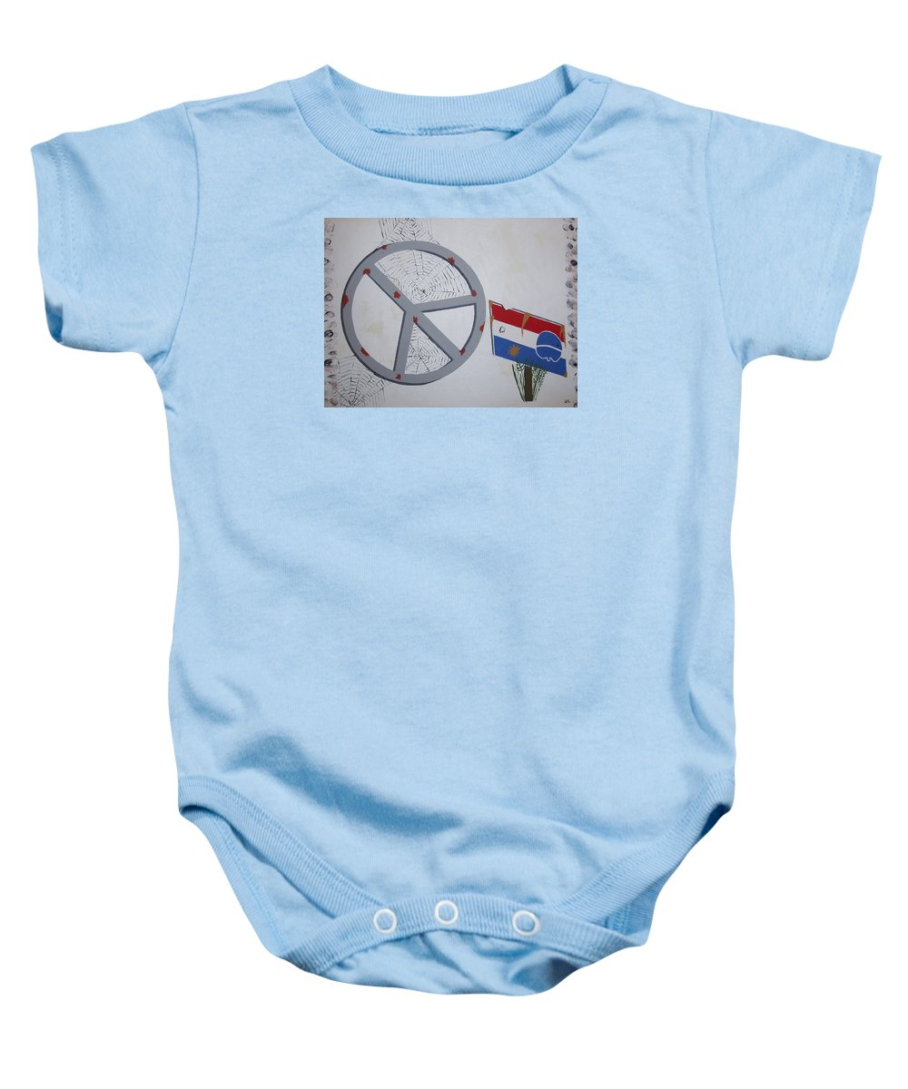 Realestate Baby Onesie featuring the painting Peace Sells But Who's Buying by Dean Stephens